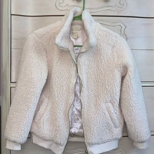 Fuzzy cream jacket